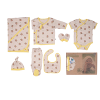 Monkey Printed GOTS Certified Organic Cotton New Born Set