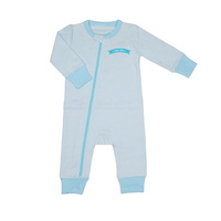 Organic KID Blue Stripe Zip Up Bodysuit