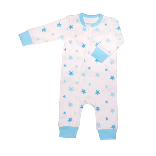 Organic KID Blue Star Baby Zip Up Bodysuit