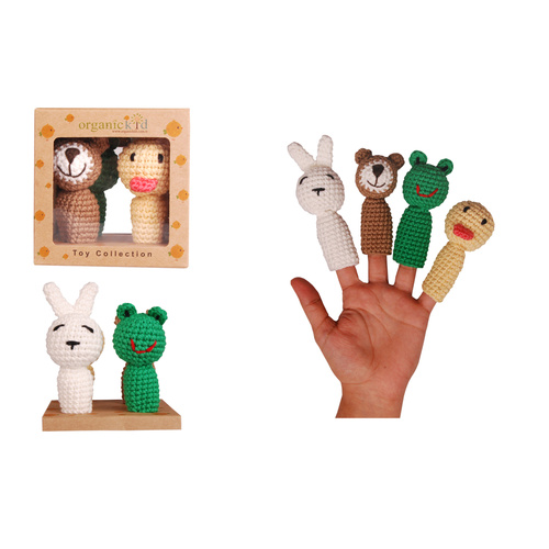 Organic KID Organic Hand Made Finger Puppets 4 Piece
