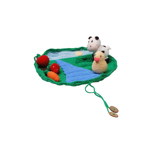 Organic KID Organic  Hand Made Toy  Farm Set